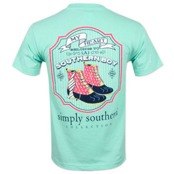 Simply Southern My Heart Belongs To T-Shirt - Blue