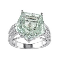 Green Quartz & White Topaz Sterling Silver Ring