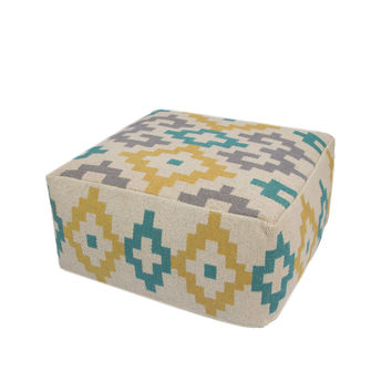 """Yellow/Taupe Cotton and Polyester Pouf (24""""""""x24""""""""x12"""""""")"""