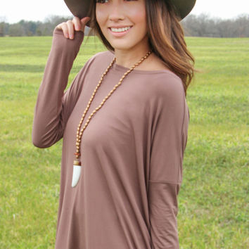 Longsleeve Piko Top in Brown