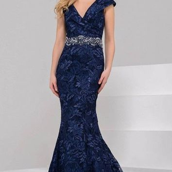 Jovani - Elegant Evening Dress in Embroidered Lace 37588
