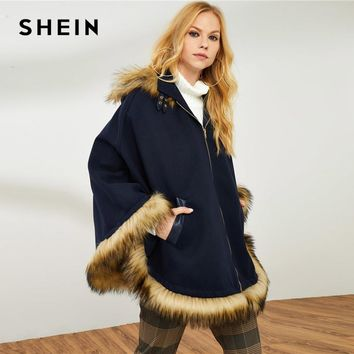 SHEIN Blue Office Lady Elegant Faux Fur Trim Poncho Hooded Solid Zipper Up Winter Coat 2018 New Autumn Highstreet Outerwear