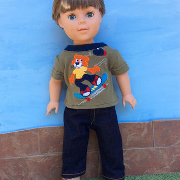 18 Inch Boy Doll T-shirt and Dark Blue Jeans, Skateboarding Tiger T-shirt with Blue Jeans