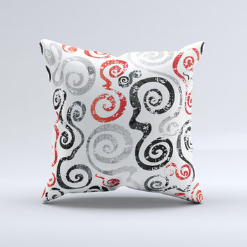 Red Accented Grayscale Swirl Pattern ink-Fuzed Decorative Throw Pillow