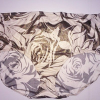 From Nice to Venice Silk Granny Panties - Luxurious Full Bottom Brief Style Underwear in Gold Lurex and Off-White Rose Floral Print