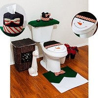 4 Pcs Christmas Santa Bathroom Toilet Seat Cover and Rug Set - Green Snowman (Color: Green)