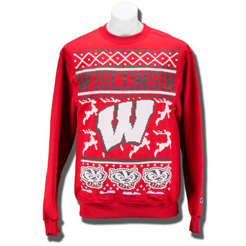 Champion Christmas Sweater Sweatshirt (Red) | University Book Store