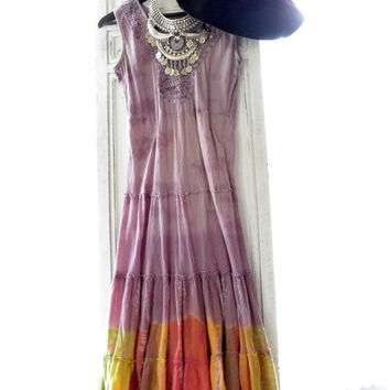 Sale Hippie chic, Burning Man festival dress, boho clothes, Music festival dresses, retro coachella, folk sundress, true rebel clothing M