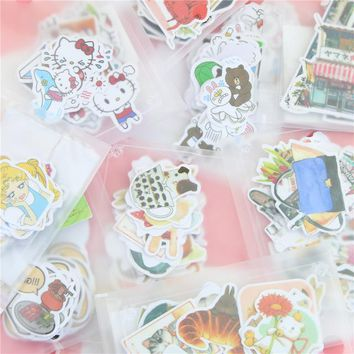 DIY Cute Kawaii Animal Paper Sticker Lovely Cat Stickers For Home Decoration Scrapbooking Diary Free Shipping 1083