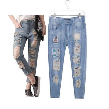 Women's fashion casual brand big plus size clothing denim hole ripped jeans pants trousers for female