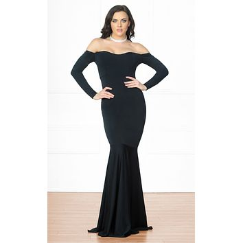 Indie XO Dramatic Moment Black Long Sleeve Off The Shoulder Mermaid Maxi Dress