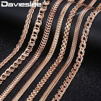 Davieslee Chain Necklace for Women Men 585 Rose Gold Filled Necklace for Women Men Foxtail Hammered Bismark Chain 3-8mm DCNN1