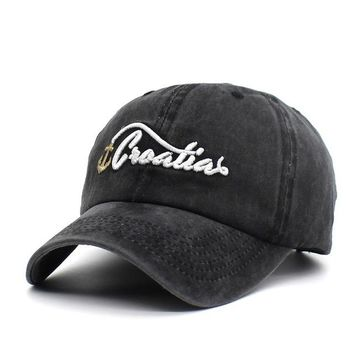 Sports Hat Cap trendy  New Washed Baseball Cap 100% Cotton Anchor Snapback Caps Embroidery Letter Hat Men Women Vintage Dad Cap Sports Sun Visor Hats KO_16_1