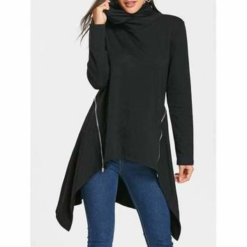 Asymmetrical Turtleneck Zippers Tunic Sweatshirt - Black L