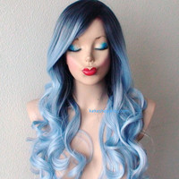 Dark roots Pastel silver blue wig.  Long curly hair long side bangs wig.