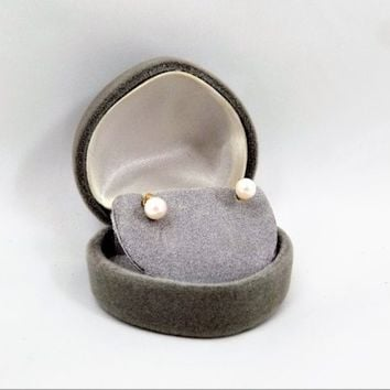 14k Pearl and Diamond Earrings, Pierced Studs, Vintage Earrings, Bridal