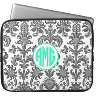 Damask Monogram Laptop Sleeve by AlyssaCreates on Etsy