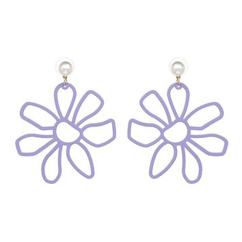 Metal Flower Earrings - 6 Colors