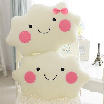 Fashion Cute Cartoon Cloud Smiley Face Cushion Soft Plush Toy Fleece Throw Pillows Home Car Decorative Kids Cushion 35CM/45CM