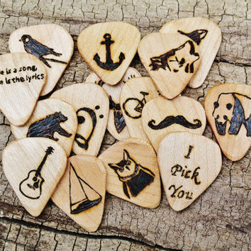 Bulk Sale: Get every 5th one FREE - Starting at 15 Engraved Wooden Guitar Picks - (Choose Wood Type and Design - Custom or My Design)