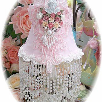 Baby Pink Beaded Lamp Shade with Cameo