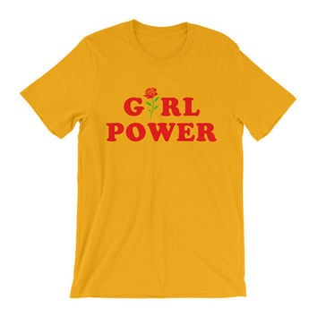 Feminist Shirt Inspirational Shirt  Feminist T-Shirt Girl Power Tumblr Shirt  Hipster Shirt Flower  Rose All Day GRL PWR