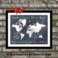 Together Forever Never Apart For Map Lovers: Long Distance Relationship Custom US World Gifts Hearts Quotes Unique For Couple Art Print