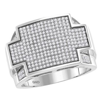 10kt White Gold Mens Round Diamond Rectangle Cluster Ring 7/8 Cttw