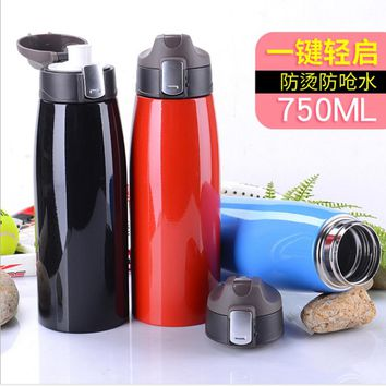 Large capacity thermos vacuum stainless steel straight  kettle Anti-hot anti-choke water safe and high quality sports flask