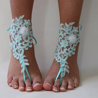 Mint Green Lace ,Bridal  Barefoot Sandals,Wedding Sandals,Beach Wedding,Bridal Anklet