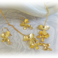 Orchid Flower Necklace Earrings Set, Orchid Lariat Necklace,  Orchid Dangle Earrings, Gold or Silver Plated Orchid Jewelry