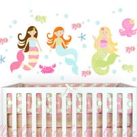 Mermaid Beach Surf Ocean Fabric Girls Kids Wall Decals Stickers - not vinyl