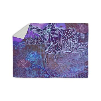 """Marianna Tankelevich """"Abstract With Wolf"""" Purple Illustration Sherpa Blanket"""