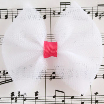 White Easter hair accessory, Pink and white tulle hairbow, dance bow, tutu tulle bow,