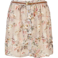 Beige floral print button down mini skirt - mini skirts - skirts - women