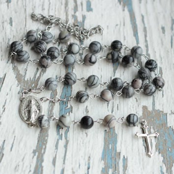 Rosaries Mens rosary necklace Black white rosary Religious necklace Catholic beads handmade grey rosaries jewelry gift Long women cross