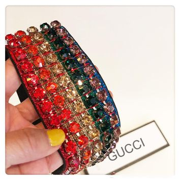 GUCCI Colorful Fashion Trending Rainbow Crystal Diamond Full Headband B-SE7EN-PA
