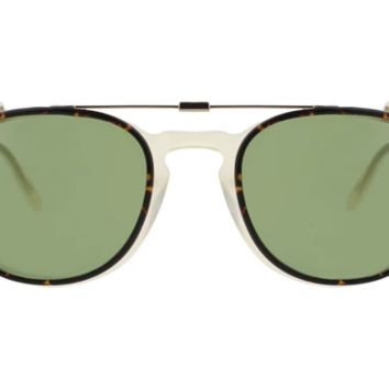Garrett Leight - Kinney Clip W 47mm Gold Tortoise Clip-On Sunglasses / Green Lenses
