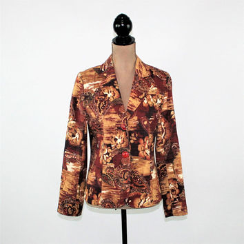 Fall Blazer Women Jacket Small Brown Floral Print Paisley Boho Blazer Fall Jacket Boho Jacket Floral Jacket Paisley Jacket Womens Clothing
