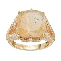 Sophie Miller Rutilated Quartz & Cubic Zirconia Sterling Silver Square Ring (Yellow)