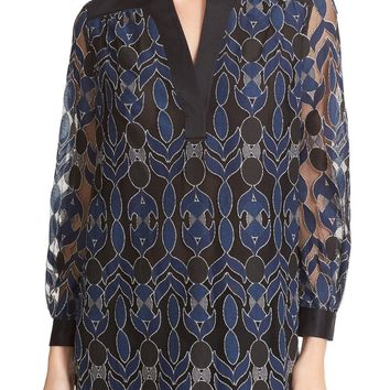 Tory Burch Harbor Mandarin Collar Tunic | Nordstrom