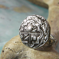Nautical Jewelry, Nautical Ring, Nautical Silver Jewelry, Pirate Ship Sunken Treasure Ancient Coin Ring, Nautical SIlver Ring, Pirate Map