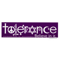 Tolerance Bumper Sticker on Sale for $2.99 at HippieShop.com
