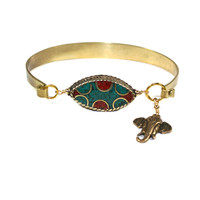 Other Areas Turquoise and Coral Elephant Cuff
