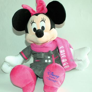 "Licensed cool NEW Disney Store CHICAGO EXCLUSIVE 17"" Minnie Mouse Plush Toy Doll W/Pink Scarf"