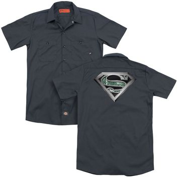 Superman - Circuitry Logo (Back Print) Adult Work Shirt