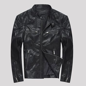 2017 New Men Genuine Leather Jacket Black Vegetable tanning Sheepskin Leather Motorcycle Jacket Men Casual Slim jackets