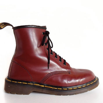 90's Vintage Dr Martens Oxblood Dark Red Leather Lace Up Boots // 7.5 - 8