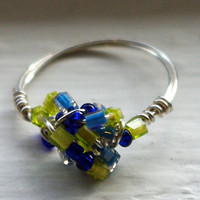 Ring Blue/Green Beaded  Wire Wrapped by SassiChic on Etsy