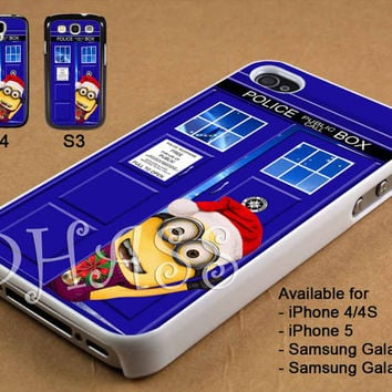 Tardis Minion Christmas Design for iPhone 4/4s/5 Case, Samsung Galaxy S3/S4 Case